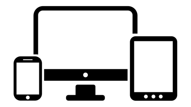 Desktop monitor, smartphone, and tablet clipart image